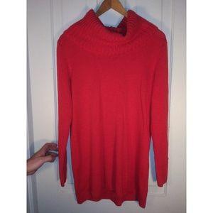 Red-orange cowl neck knit sweater H&M
